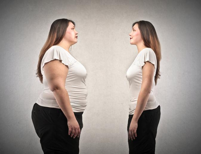 slanke vrouw en vrouw met overgewicht